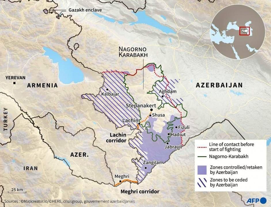 Mapa del conflicto de Nagorno-Karabaj.