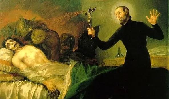 Cuadro de Goya representando a San Francisco de Borja realizando un exorcismo