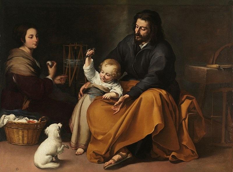Sagrada Familia del Pajarito. Obra de Murillo (Hacia 1650)