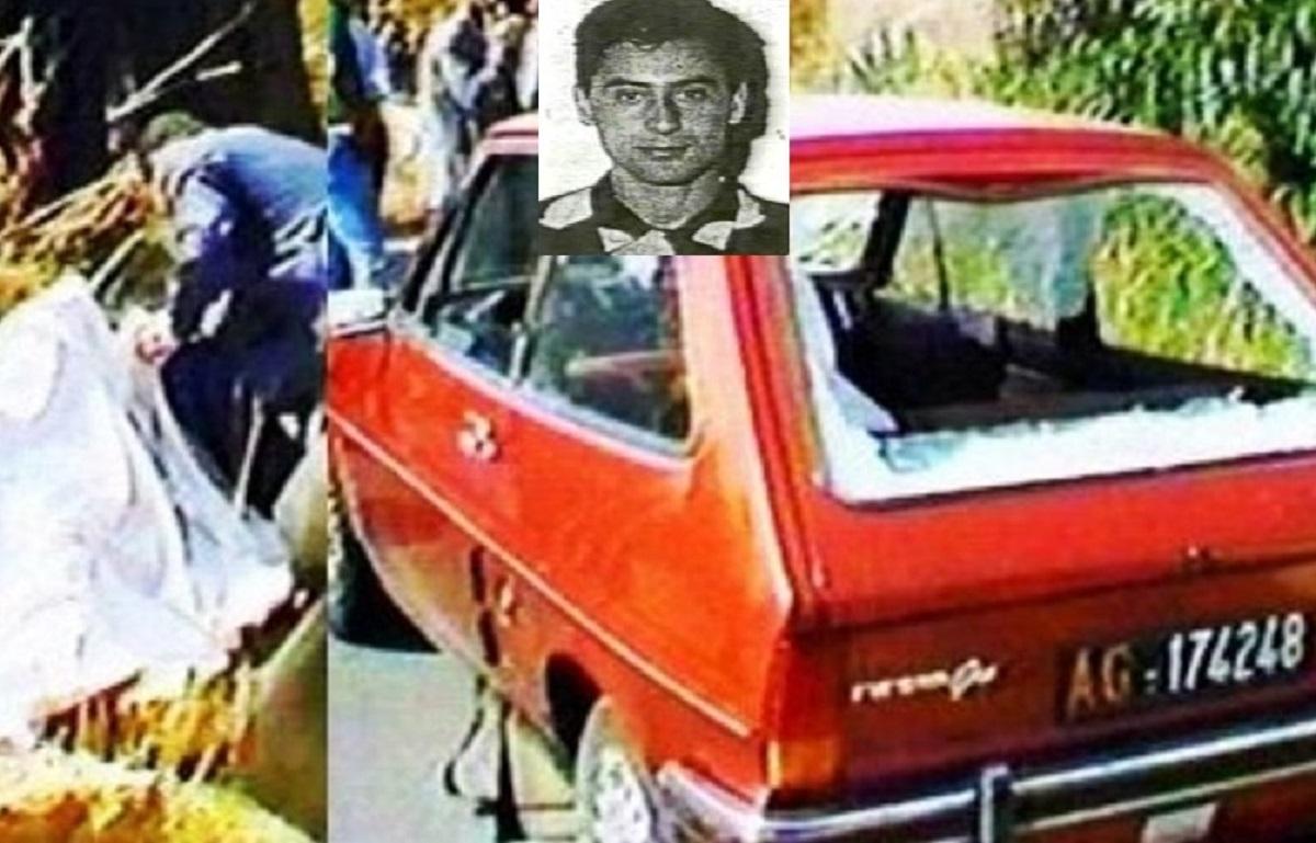 Imagen del coche del juez Livatino tras el ataque de los cuatro sicarios