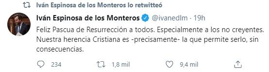 Iván Espinosa felicita la Pascua 2021