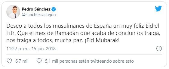 Pedro Sánchez felicita Ramadán, pero no Pascua