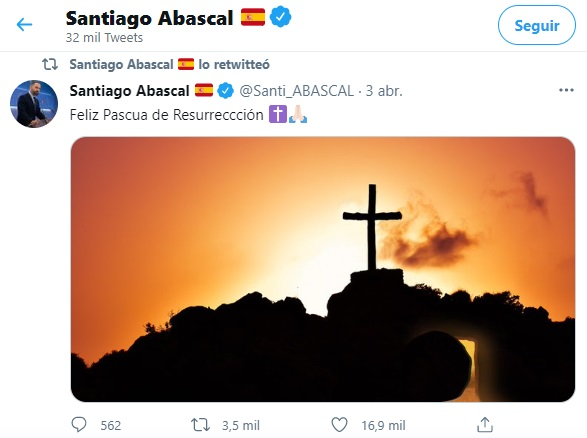 Santiago Abascal felicita la Pascua 2021