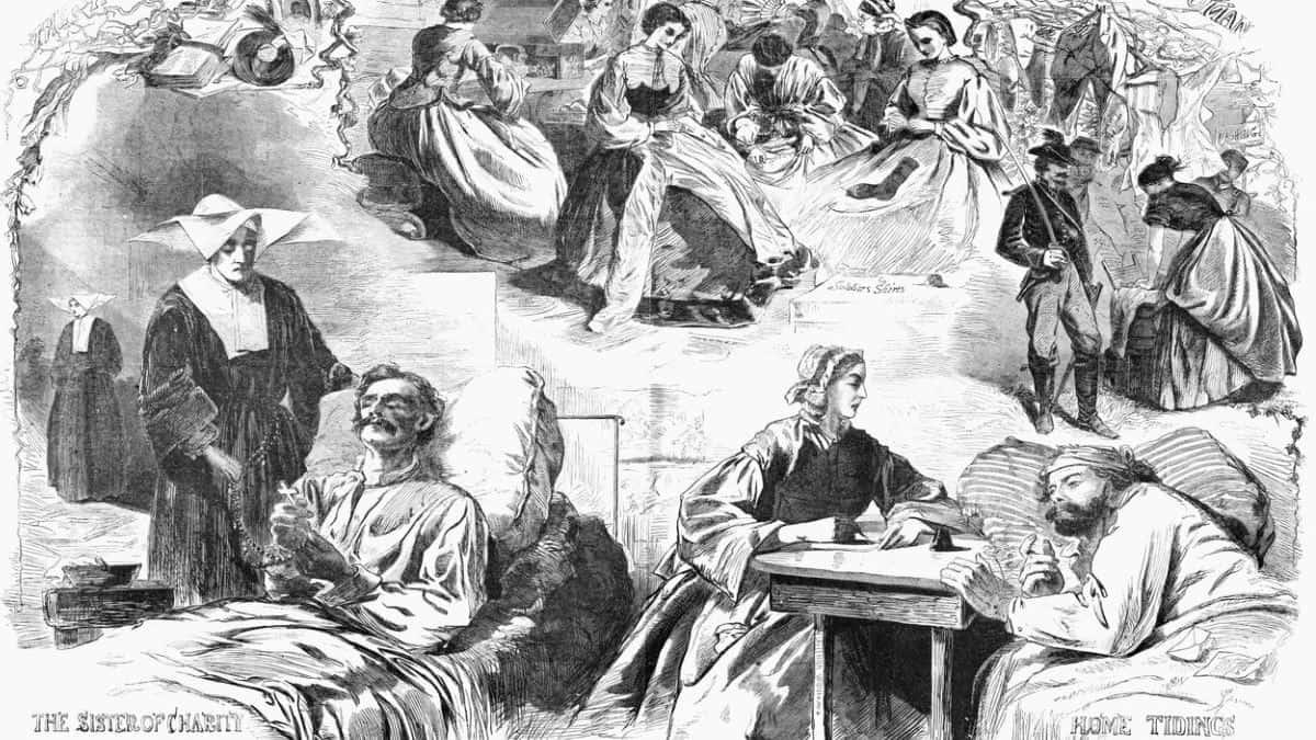 Grabado de mujeres y  Hermanas de la Caridad atendiendo a los heridos de la Unión.