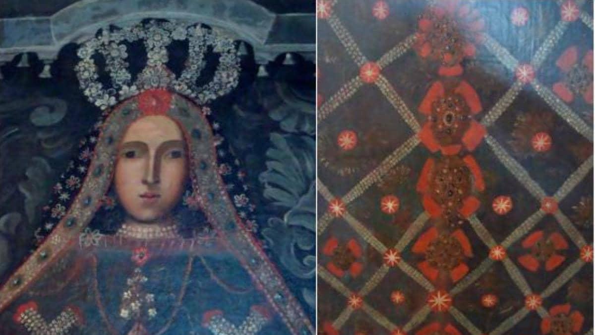 Retrato del rostro y vestimenta de la Virgen de Izamal.