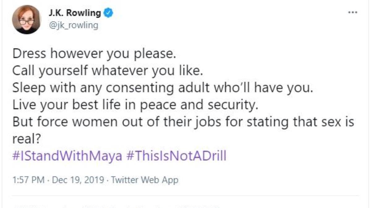Tweet de J. K. Rowling.