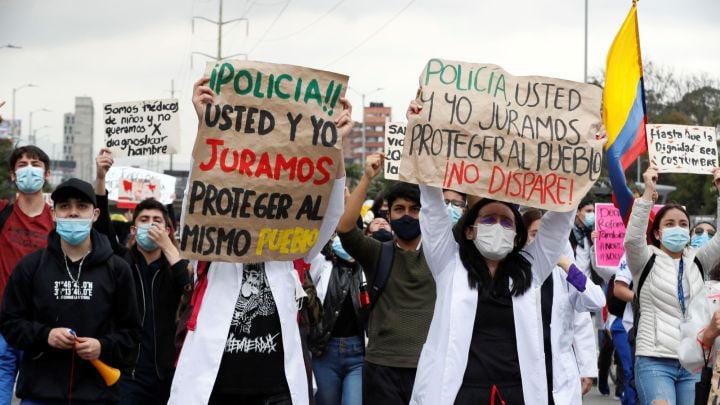 Médicos en las manifestaciones de Colombia de mayo 2021