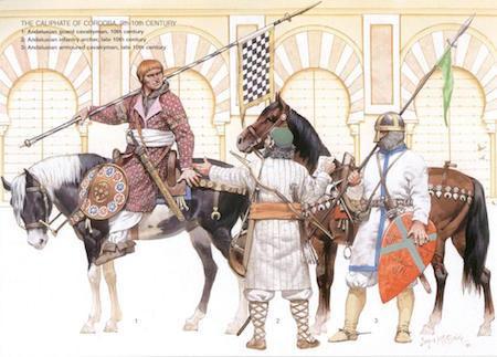 Soldados del Califato de Córdoba (siglo IX-X) dibujados por Angus McBride