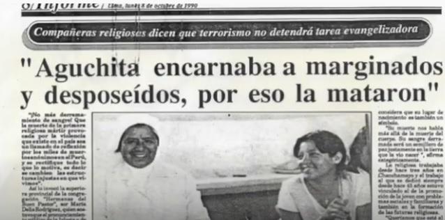 Recorte de prensa sobre Aguchita de 1990