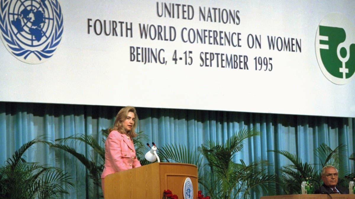 Hillary Clinton en la Conferencia de Pekín de 1995.