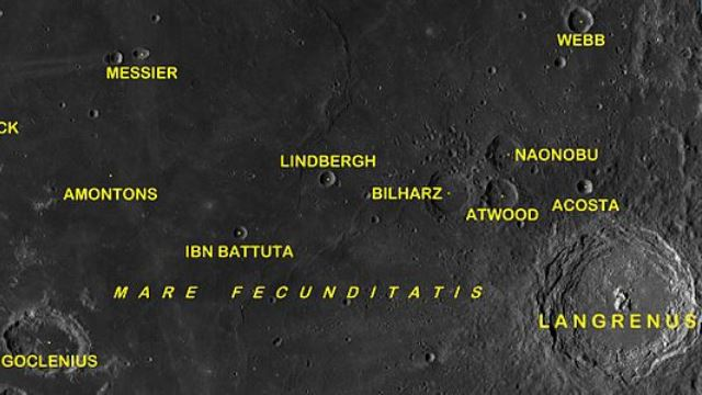 Mapa de cráteres lunares.