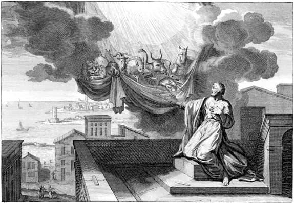 La visión de Pedro en Hechos 10 en un grabado clásico