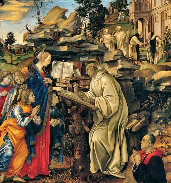 Aparición de la Santísima Virgen a San Bernardo, un cuadro de Filippino Lippi (1457-1504).
