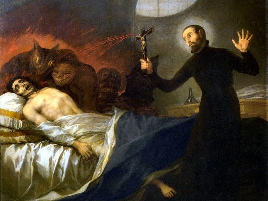 La despedida de San Francisco de Borja y San Francisco de Borja exorcizando a un moribundo impenitente, pintado por Goya