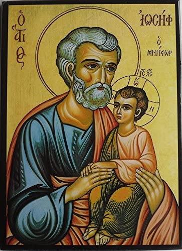 Icono de San José con el Niño, estilo bizantino moderno