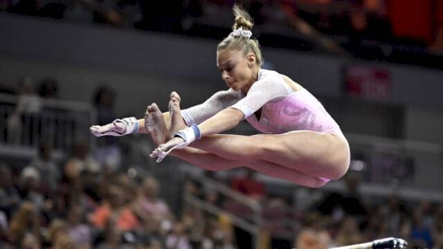La gimnasta católica Grace McCallum.