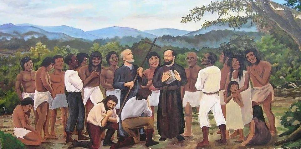 Ilustración clásica recordando a los mártires del Zenta, los dos clérigos y los laicos, según sus razas
