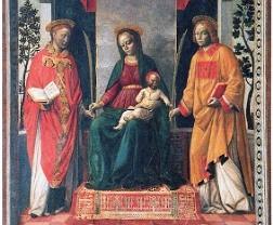 La Virgen María y los dos santos.