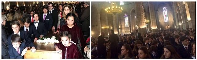 La misa funeral por Chema Postigo fue multitudinaria y los hijos quisieron sacar del templo el féretro de su padre