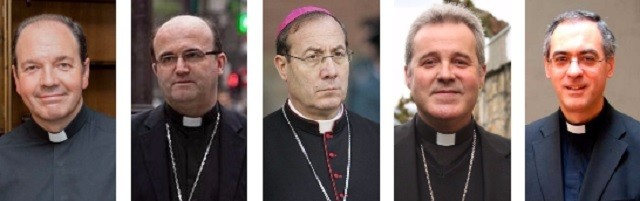 De izquierda a derecha los obispos Elizalde (Vitoria), Munilla (San Sebastián), Pérez (Pamplona), Iceta (Bilbao) y Arnárez (auxiliar de Pamplona)