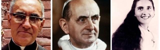 El arzobispo Óscar Romero, el Papa Pablo VI y la joven paraguaya Chiquitunga