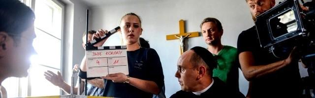 Un momento del rodaje de Dos Coronas, un docudrama que combina escenas dramatizadas y declaraciones de testigos y expertos