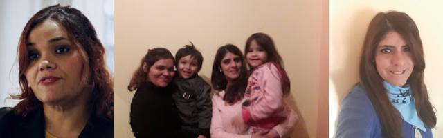 Karina y Paz con sus respectivos hijos