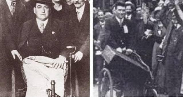 John Traynor saliendo de Lourdes, y a su llegada a Liverpool empujando la silla de ruedas
