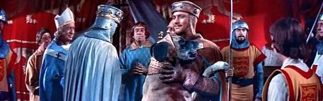 Una escena de «El talismán», como se tituló en España la película rodada en 1954 por David Butler «El Rey Ricardo y los Cruzados», con George Sanders, Rex Harrison y Virginia Mayo, y basada en una obra de Walter Scott (1771-1832), autor de «Ivanhoe».