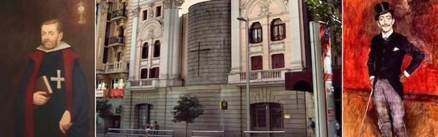 A la izquierda, el Caballero de Gracia; a la derecha, su distorsión zarzuelera; en el centro, el Oratorio de la Gran Vía madrileña.