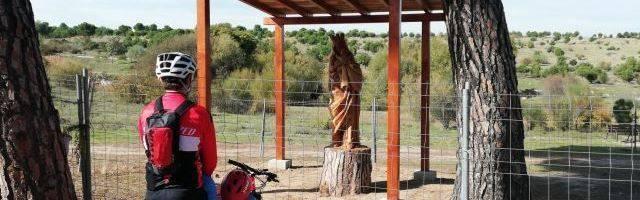 La Virgen del Abrazo o de Valdebebas, en un tronco enraizado, foto de Carmen Delgado, en Gaceta Local