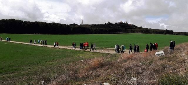 La peregrinación partió desde Perales del Río hasta el Cerro de los Ángeles, que se ve al fondo de la imagen