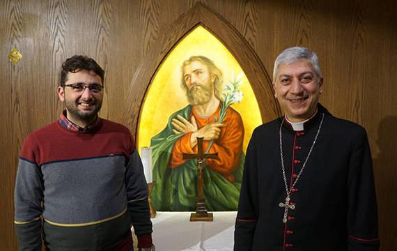 Fadi y monseñor Tobji, Arzobispo Maronita católico de Alepo