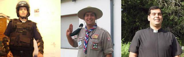 Pedraza, como policía, scout en su adolescencia y finalmente como sacerdote