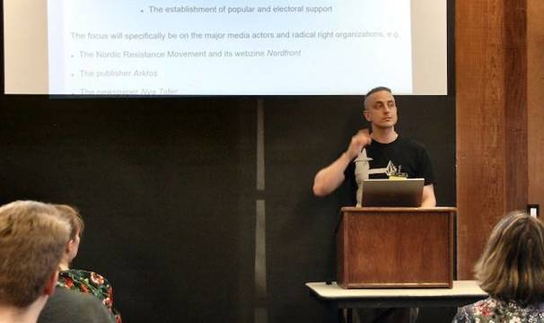 Johan Eddebo, durante una conferencia en la Universidad de Berkeley (California).