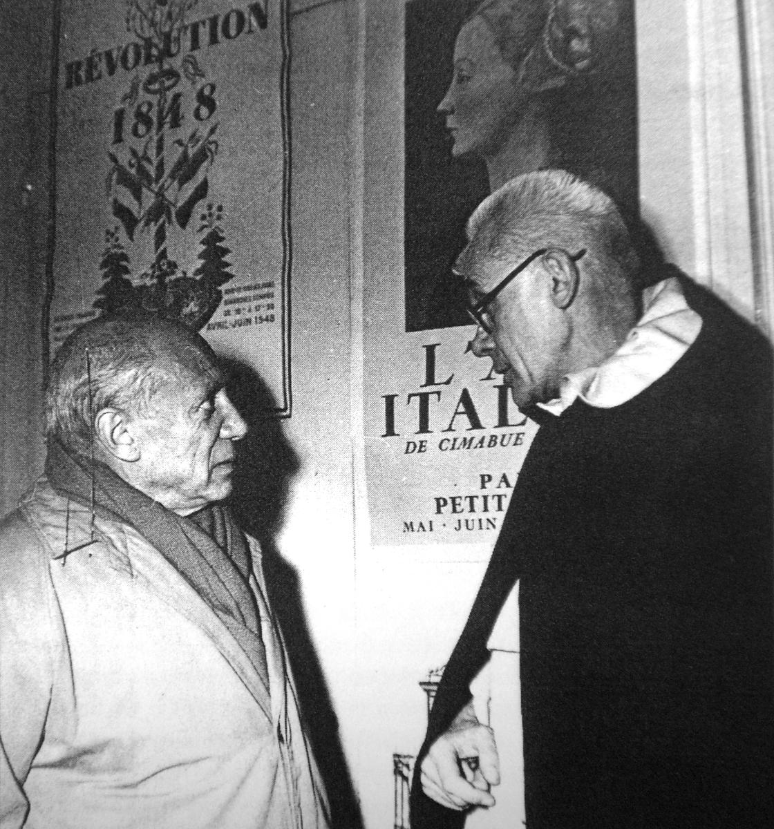 Couturier conversando con Picasso.