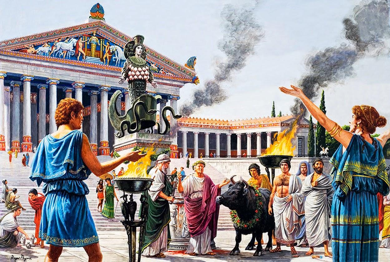 Ofrenda en el exterior de un templo griego